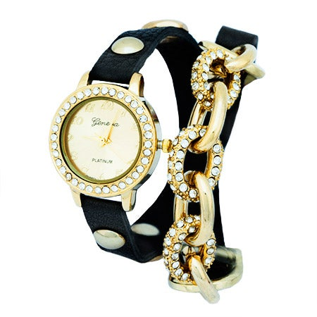 Chain Link CZ Black and Gold Wrap Watch | Eve's Addiction®