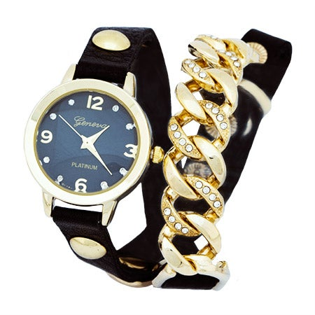 Sideways Cuban Link CZ Black and Gold Wrap Watch | Eve's Addiction®