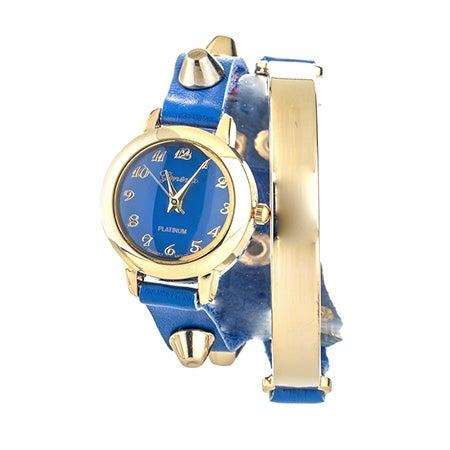 Engravable Studded Blue & Gold Wrap Watch   Eve's Addiction®