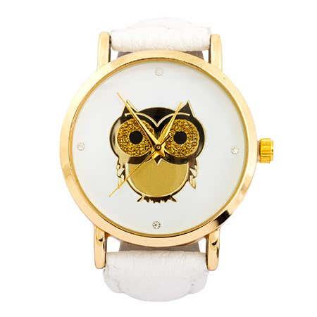 Golden Owl CZ White Leather Fashion Watch | Eve's Addiction®