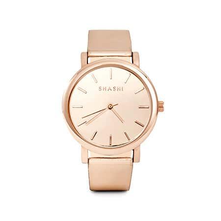 Shashi Metallic Rose Gold Adjustable Gleam Watch | Eve's Addiction®