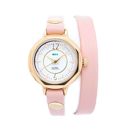 La Mer Del Mar Blush and Gold Leather Wrap Watch | Eve's Addiction®