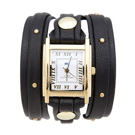 La Mer Black and Gold Studded Leather Wrap Watch | Eve's Addiction®