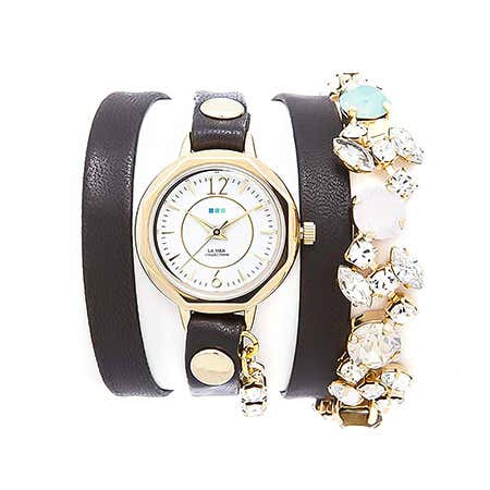 La Mer Portugal Crystal Black Leather Wrap Watch