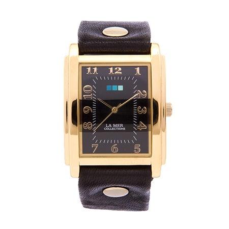 La Mer Black Wash Oversize Square Gold Watch | Eve's Addiction®