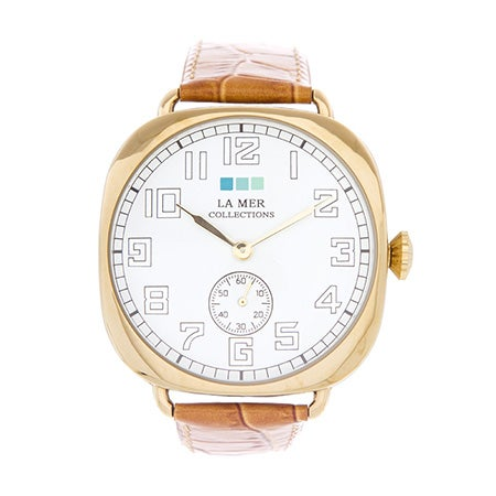 La Mer Vintage Oversize Tan and Gold Watch | Eve's Addiction®