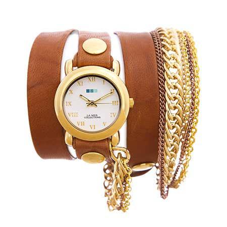 La Mer Arizona Tobacco Multichain Leather Wrap Watch