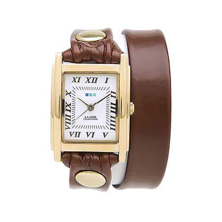 La Mer Brown and Gold Leather Double Wrap Watch