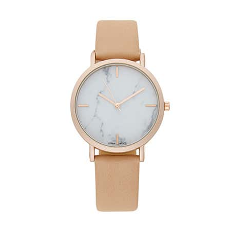 display slide 1 of 1 - Tan Leather Band White Marble Face Rose Gold Set Round Watch - selected slide