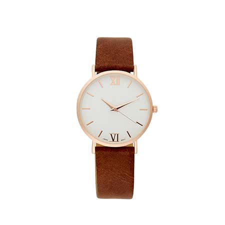 Men's Rose Gold Plated Dark Brown Distressed Strap Watch