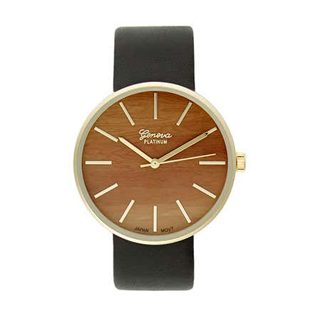 Mens Wood Face Gold Plated Watch And Black Faux Leather Band