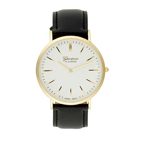 display slide 1 of 1 - Men's Classic Minimal Gold Plated And Black Strap Watch - selected slide