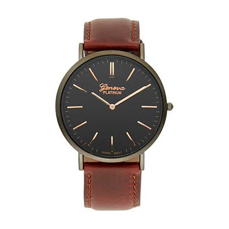 Men's Simple Classic Black and Dark Brown Round Face Watch