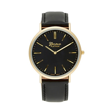 Men's Gold Plated Gold Lettering Classic Simple Black Watch
