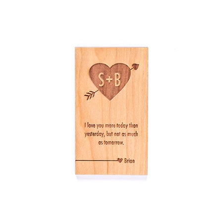 Carved Heart Personalized Wood Wallet Insert