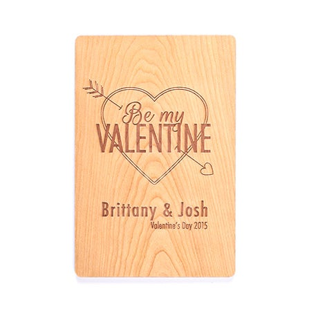 Carved Personalized Be My Valentine Wood Postcard