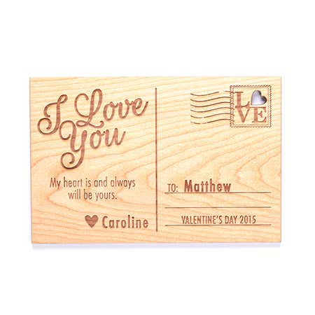 Carved Personalized I Love You Wood Postcard