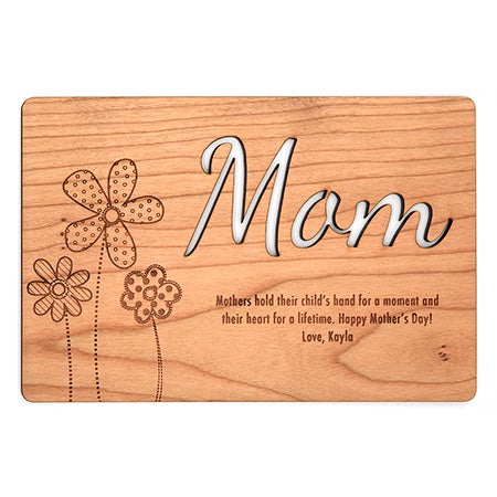 Personalized Engraved Mom Wood Postcard