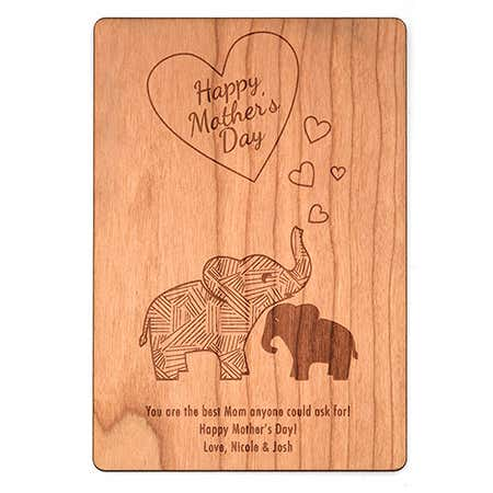 Personalized Mom and Baby Elephant Mother's Day Wood Postcard