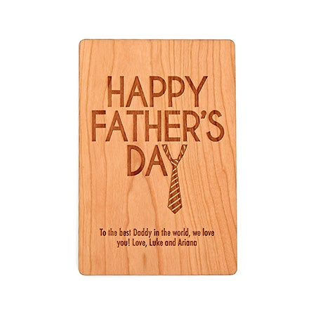 Engravable Happy Father's Day Wood Postcard