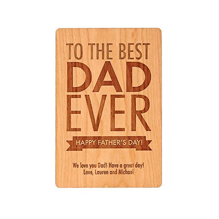 Personalized Best Dad Ever Engraved Wood Postcard