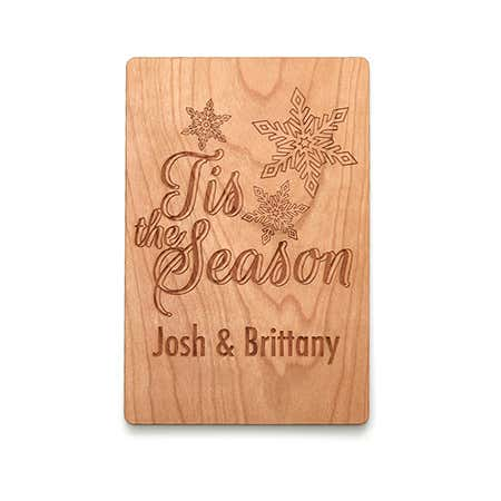 Personalized Tis the Season Wood Holiday Card
