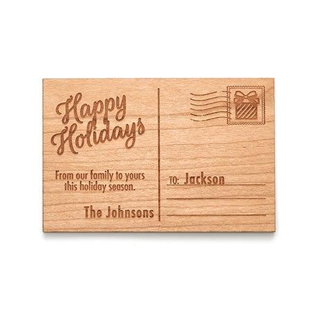 Custom Happy Holidays Wood Postcard