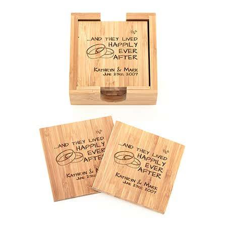Happy Couple Engraved Bamboo Square Coaster Set