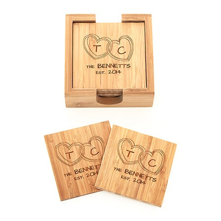 Joined Hearts Engraved Bamboo Square Coaster Set