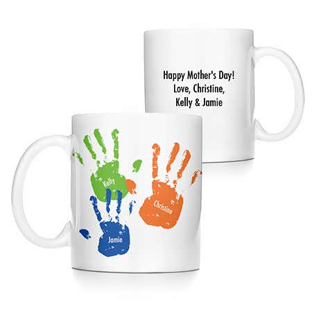 display slide 1 of 5 - Kid's Handprints Coffee Mug - selected slide