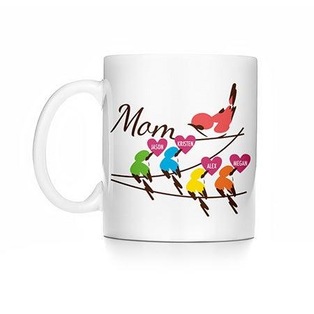 Personalized Mom and Baby Birds Mug