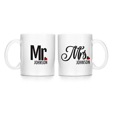 display slide 1 of 1 - Personalized Mr. and Mrs. Mugs  - selected slide