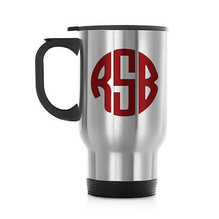 display slide 1 of 5 - Personalized Block Monogram Stainless Steel Travel Mug - selected slide
