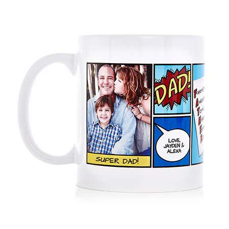 Personalized Super Dad Comic Book Photo Mug