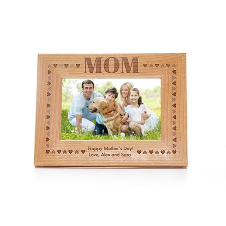 Personalized Mom Hearts Border Carved Wood Frame