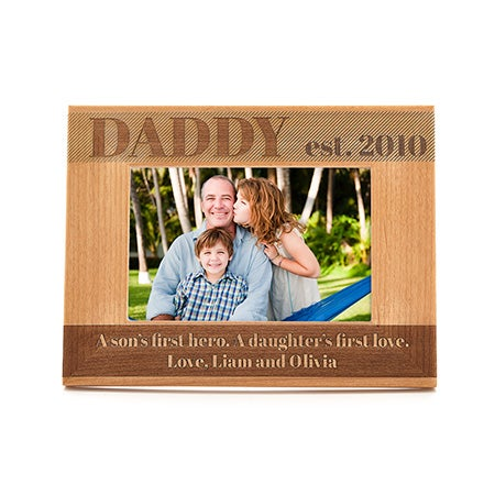 Personalized Daddy Carved Wood Picture Frame