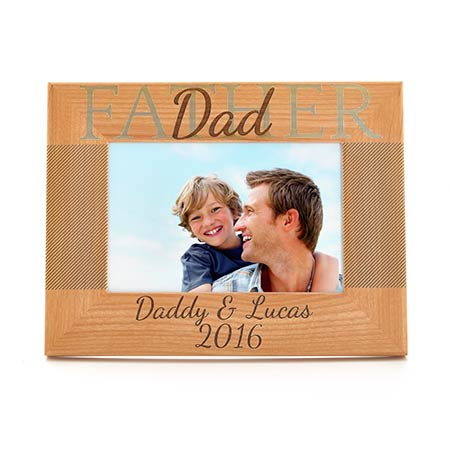 Personalized Father Carved Wood Frame