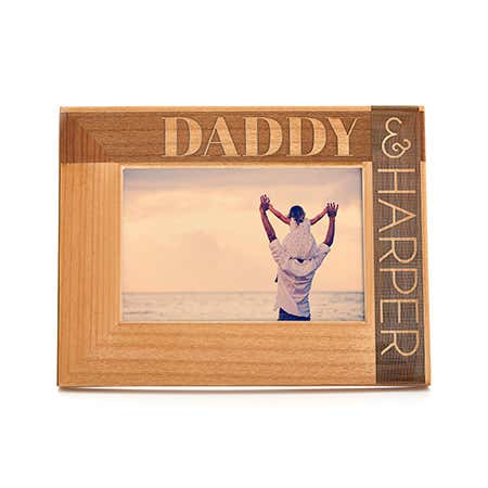 Personalized Daddy & Child Carved Wood Picture Frame