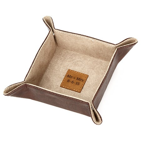 Personalized Brown Leather Ring Dish