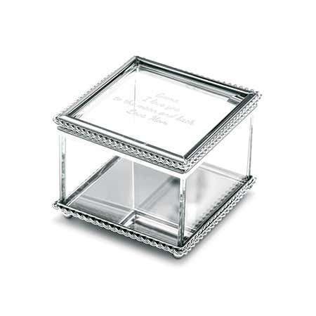 Engravable Glass Keepsake Box with Braided Edge