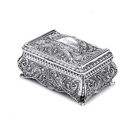 Ornate Rectangular Engravable Jewelry Box