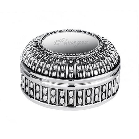 Engravable Beaded Antique Style Round Jewelry Box