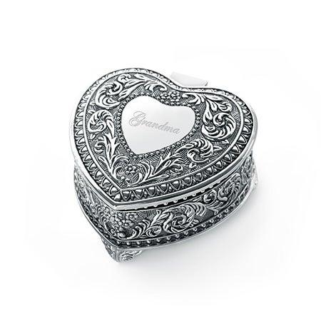 Engravable Genoa Vintage Heart Jewelry Box