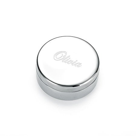 Engravable Round Small Jewelry Box