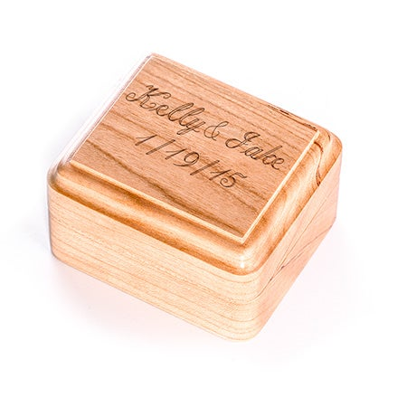 Engravable Cherry Wood Ring Box