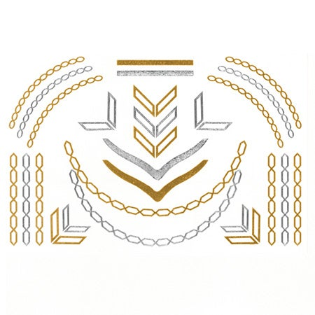 Chevron and Chain Link  Flash Tattoos in Gold and Silver | Eve's Addiction®