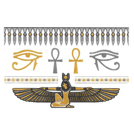 Egyptian Style Temporary Jewelry Tattoos - Metallic Gold & Silver | Eve's Addiction®
