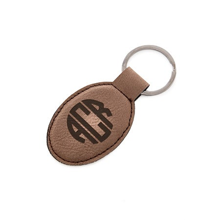Monogrammed Block Oval Brown Leather Keychain