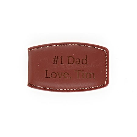 Custom Engraved Brown Leather Money Clip