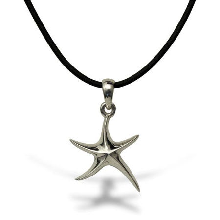 Designer Style Sterling Silver Starfish Black Cord Necklace | Eve's Addiction